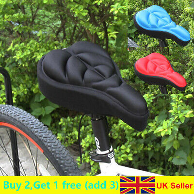 Travel Cycling Bike Silicone Saddle Seat Cover Gel Cushion Soft Comfortable Pad❤ • 3.59£