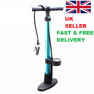 Bicycle Bike Cycle Pump Tyre Hand Air Mini Pressure Gauge & Presta Shrader Valve • 13.99£
