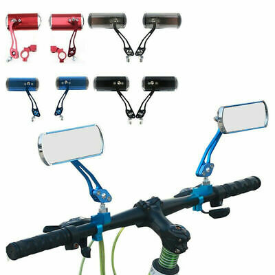 2PC Bicycle Bike Cycle Handlebar Rear View Rearview Mirror Rectangle Back UK • 8£
