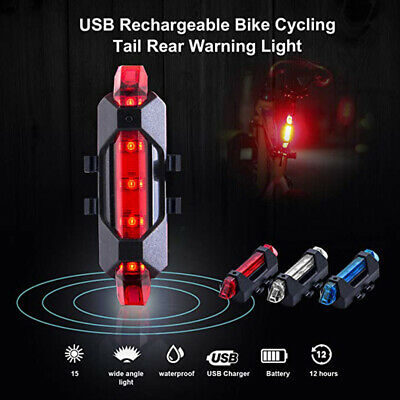 5 LED USB Rechargeable Bike Bicycle Cycling Tail Rear Light Safety Warning • 2.99£