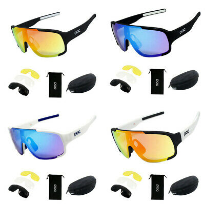 POC Cycling Sunglasses Glasses With 4 Replace Lens Biker UV400 Polarized Glasses • 12.99£