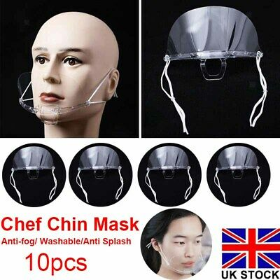 10X Transparent Chin Shield Face Mouth Mask Anti-saliva Office Home Lightweight • 6.48£