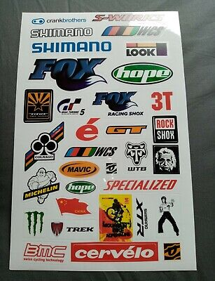 Mountain Bike Sticker Sheet Cycling MTB Shimano Hope Rock Shox Fox Decal Graphic • 7.95£