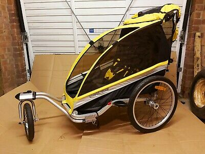 Weeride  Deluxe Trailer Jogger Stroller, Yellow, Seat For 2 Kids. Good Condition • 99£