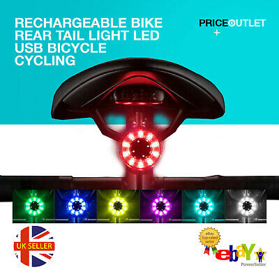 Bike Light LED Rechargeable Rear Tail USB Bicycle Cycling Waterproof Sports Lamp • 7.99£