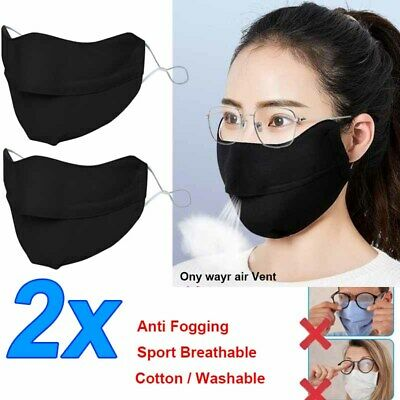 2X Anti Fogging Face Mask For Glasses Wearers Adjustable Sport Cycling Air Valve • 8.49£