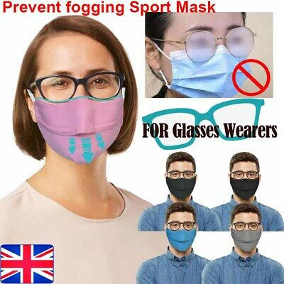 UK Anti Fogging Face Mask For Glasses Wearers Adjustable Sport Cycling Air Valve • 15.49£