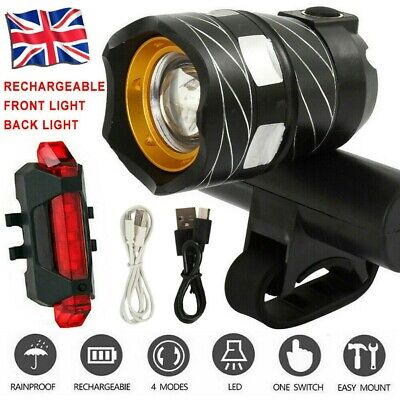 Rechargeable T6 LED MTB Rear&Front Set 15000LM Bicycle Lights Bike Headlight USB • 11.59£