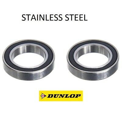 TWO DUNLOP 61803-2RS (6803-2RS) THIN SECTION STAINLESS STEEL BEARINGS 17x26x5mm • 7.75£