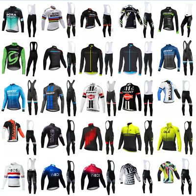 Team Cycling Jerseys Mens Cycling Long Sleeve Jersey And Bib Pants Set 25 Style • 25.99£