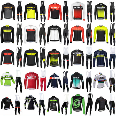 Mens Team Cycling Jerseys Cycling Long Sleeve Jersey And Bib Pants Set 2020 New • 31.99£