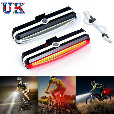 LED Mountain Bike Bicycle Front Rear Lights Lamp USB Rechargeable Waterproof UK • 11.99£