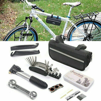 Bike Bicycle Frame Tool Puncture Repair Kit Carry Case Bag With Pump Set UK • 9.99£