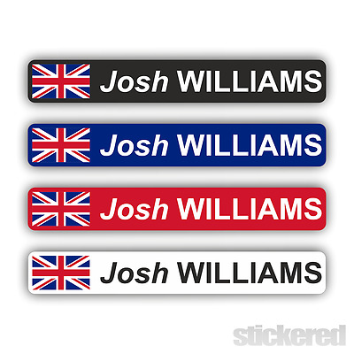 6 X PERSONALISED UK FLAG BIKE BICYCLE NAME STICKERS CYCLE MOUNTAIN BMX RACING • 3.50£