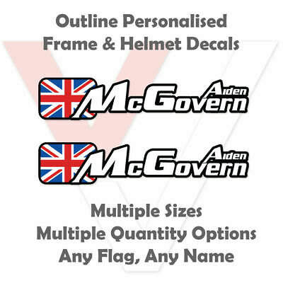 Outline Personalised Bike Stickers Frame And Helmet - Name Decals - Upgraded • 2.81£