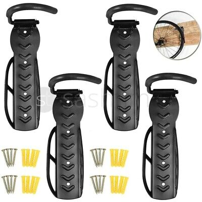 4x Steel Bike Rack Stand Storage Wall Mounted Hook Hanger Bicycle Holder Hanging • 14.99£