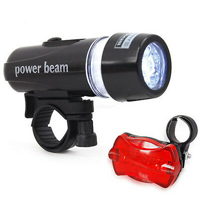 Waterproof Bright 5 Led Bike Bicycle Cycle Front And Rear Back Tail Light Lights • 5.95£