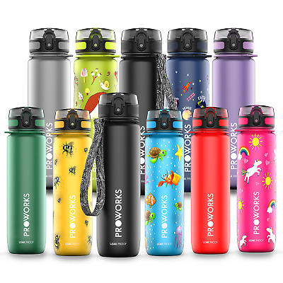 Proworks Sports Water Bottle BPA Free Plastic Running Drinks For Adults & Kids • 11.95£
