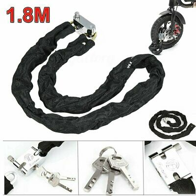 1.8M Motorcycle Motorbike Heavty Duty Security Chain Pad Lock Bicycle Scooter • 10.88£