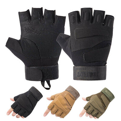 Road MTB Bicycle Cycling Tactical Gloves Sports BMX Bike Riding Fingerless Mitts • 6.56£