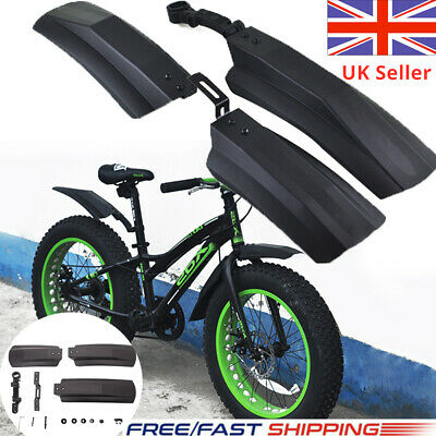 Snow Bicycle Bike Front & Rear Mud Guards Mudguard Fenders Set For Fat Tire • 13.88£