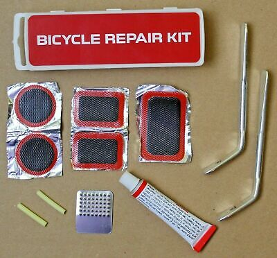 Puncture Repair Kit With Patches + Glue All Bike Tubes, Tyres Road Cycles + MTB • 2.89£