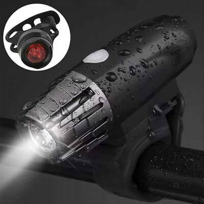 Rechargeable USB LED Bike Bicycle Head And Tail Cycling Front Back Headlight Set • 7.99£