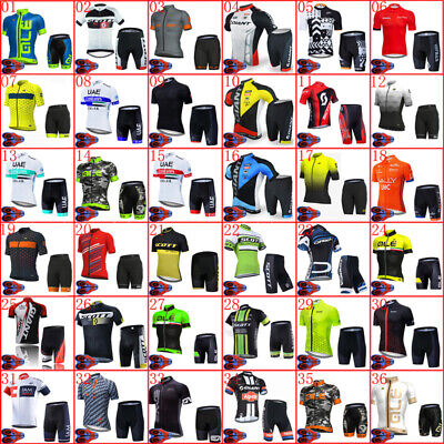 Men Cycling Jersey Summer Short Sleeve Bike Shirt And Shorts Set Bicycle Outfits • 27£
