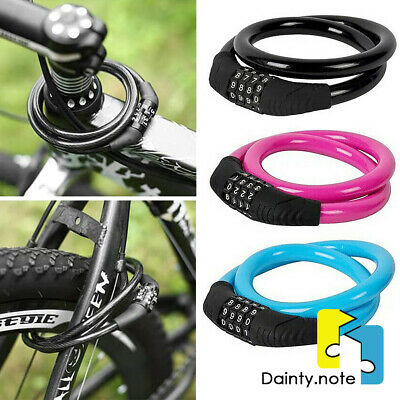 Mountain Bike 4 Digit Password Code Lock Anti-theft Steel Wire Bicycle Safety UK • 5.99£