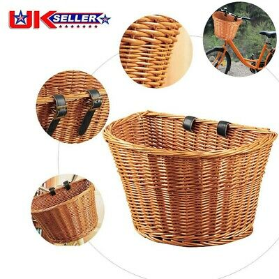 D-shaped Vintage Wicker Bicycle Basket Leather Look Straps Bike Cycle Shopping_ • 11.98£