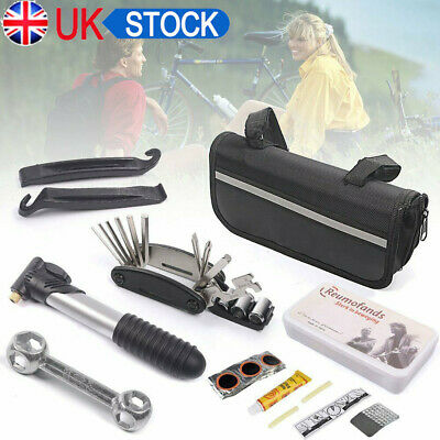 New Bike Cycle Bicycle MTB Tool Puncture Repair Kit With Pump Set Carry Case Bag • 8.99£