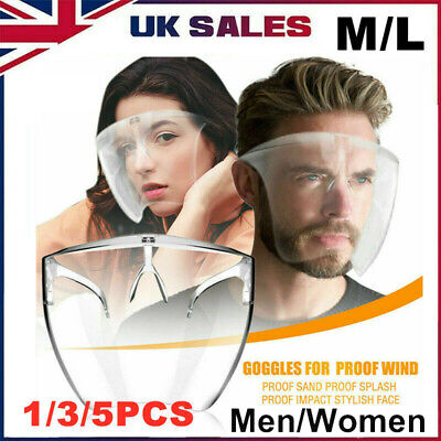 Unisex Transparent Protective Anti-spray Glasses Goggles Safety Face Shields UK • 25.20£