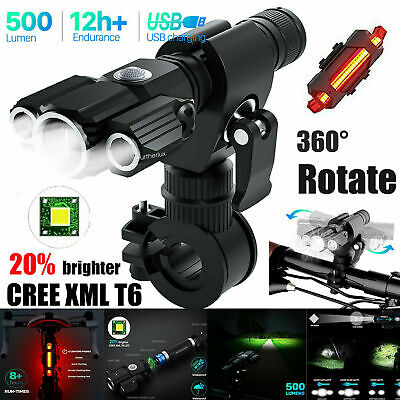 Rechargeable LED Mountain Bike Lights 18650 Bicycle Torch Front & Rear Lamp Set • 12.99£