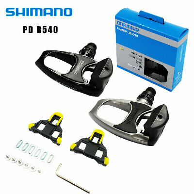 Shimano Road Bike PD R540- SPD SL Clipless Road Pedals + Cleats Silver Black New • 31.99£