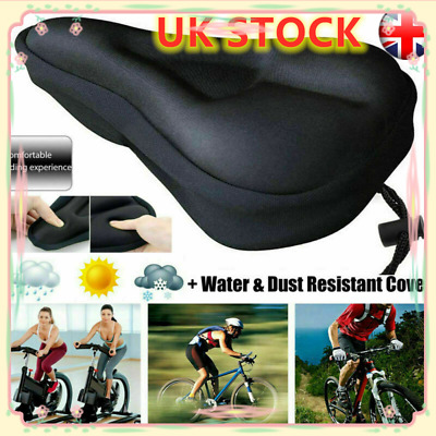 UK Bike Cycle Bicycle Extra Comfort Gel Pad Cushion Cover For Saddle Seat Comfy • 5.75£