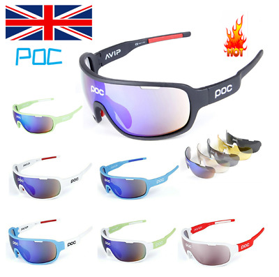 Professional Cycling 5 Pieces POC Sunglasses Polarized Outdoor Sports Glasses UK • 12.93£
