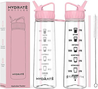 Tracker 900ml Straw Water Bottle - With Motivational Time Markings, BPA-Free  • 14.39£
