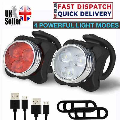 Bike Light Set, Super Bright USB Rechargeable Bicycle Lights, Waterproof IPX4 • 6.49£