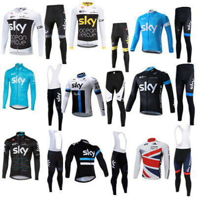 Suit Cycling Sleeve SKY Bib Jersey Shirt Pants Uniform Long Bike Sports Men Set • 33.59£