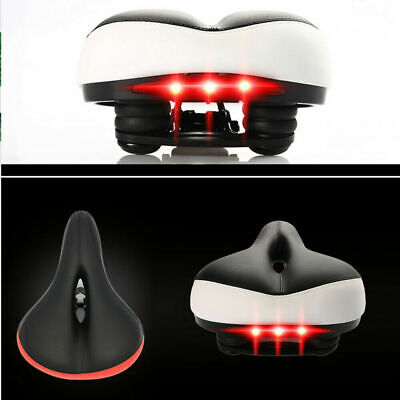 Wide Big Comfort Bike Bicycle MTB Soft Saddle Seat With LED Rear Tail Light New • 9.50£