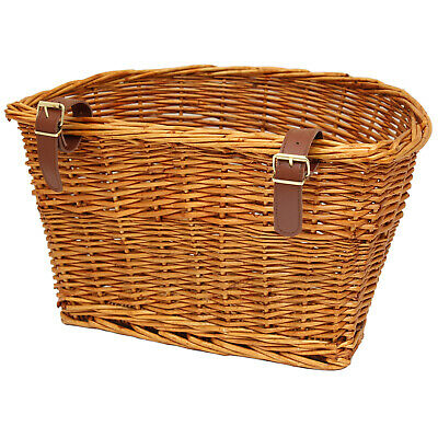 Pedalpro Vintage Wicker Bicycle Basket Leather Look Straps Bike Cycle Shopping • 17.99£