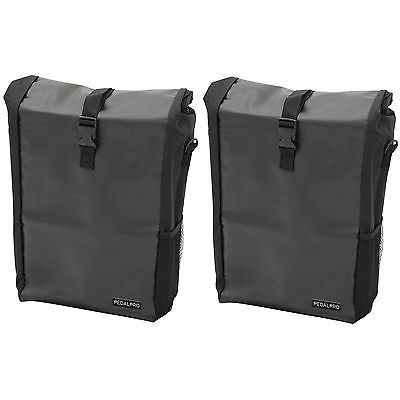 2x PEDALPRO SINGLE WATERPROOF CYCLE PANNIER BAG BIKE/BICYCLE COMMUTE/SHOPPING • 13.99£