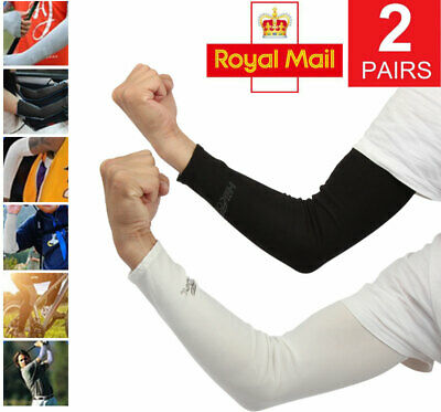 2 Pair Unisex Outdoor Sports Cooling Arm Sleeves Cover UV Sun Protection • 4.99£