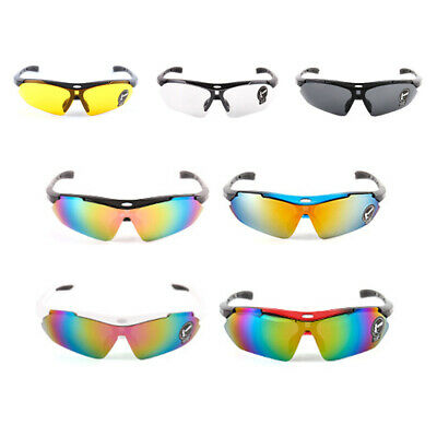 New Cycling Glasses Sports Sunglasses UVA400 Work Safety Clear Orange Bicycle UK • 5.88£