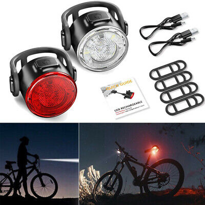 12LED USB Rechargeable Bike Lights Set Headlight Taillight Caution Bicycle Light • 9.85£