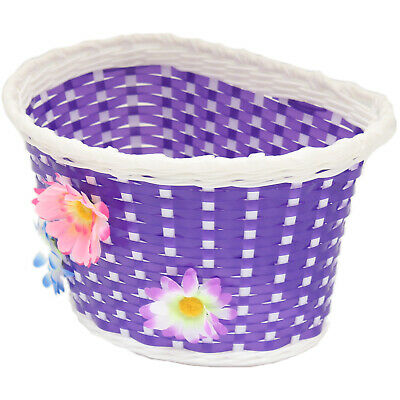 Purple Flower Girls Bicycle Front Basket Childs/childrens/kids For Bike/cycle • 4.99£