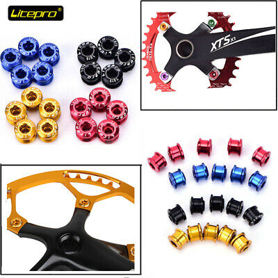 5 PCS Litepro AL7075 Single/Double/Triple MTB Road Bike Chainring Bolts Screws • 6.99£