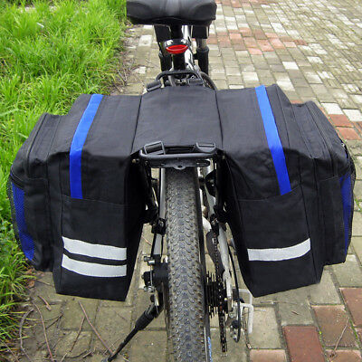 Waterproof Double Panniers Bag Bike Bicycle Cycling Rear Seat Trunk Rack Pack UK • 8.15£