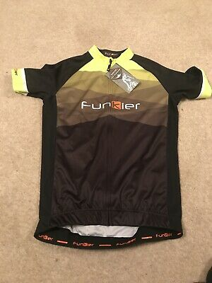 Funkier Mens Pro Rider Short Sleeve Full Zip Cycling Jersey Black-yellow Large • 14.99£