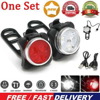 Rechargeable USB LED Bike Bicycle Head And Tail Cycling Front Back Headlight Set • 6.59£